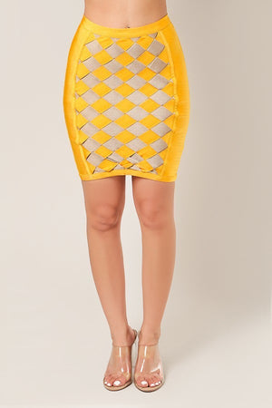 Honey Checkered Bandage Mini Skirt - STEVEN WICK