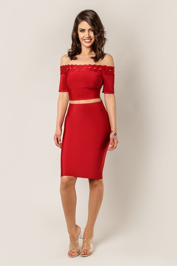 Red Berry Pencil Bandage Skirt - STEVEN WICK