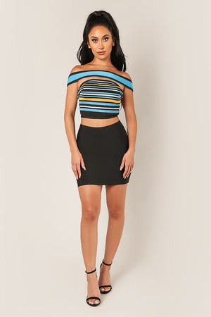 Multi-Color Striped Off Shoulder Crop Top - STEVEN WICK