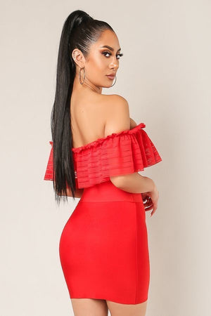 Red Off Shoulder Ruffled Bandage Crop Top - steven wick