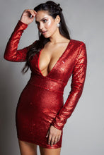 Load image into Gallery viewer, Red Iridescent Sequins Long Sleeve Dress - stevenwick