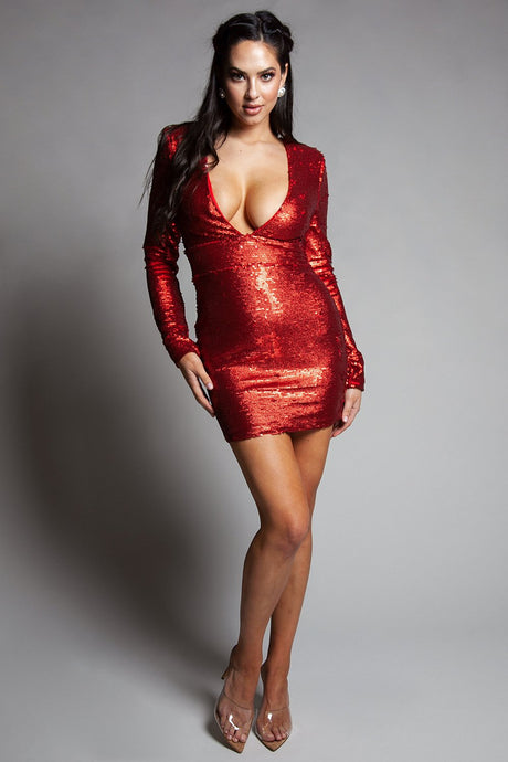 Red Iridescent Sequins Long Sleeve Dress - stevenwick