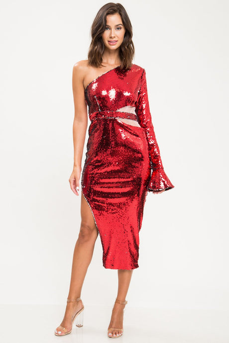 Red Sequins One Shoulder Midi Gown - stevenwick