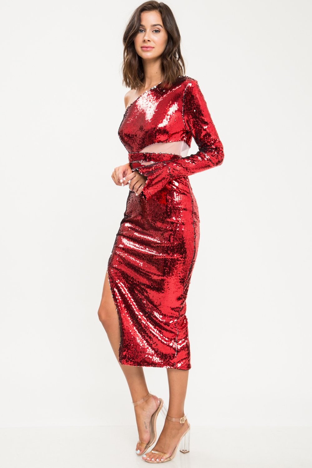 Red Sequins One Shoulder Midi Dress - STEVEN WICK