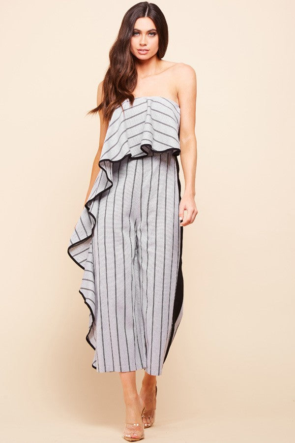 Off Shoulder Side Pleated Jumpsuit - STEVEN WICK