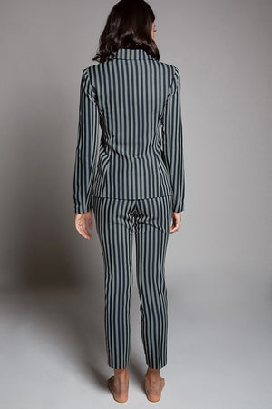 Hillarie Two Piece Striped Print Pant Suit Set - STEVEN WICK