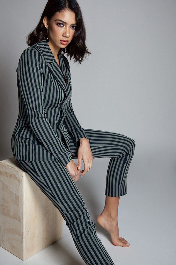 Two Piece Striped Print Pant Suit Set - STEVEN WICK