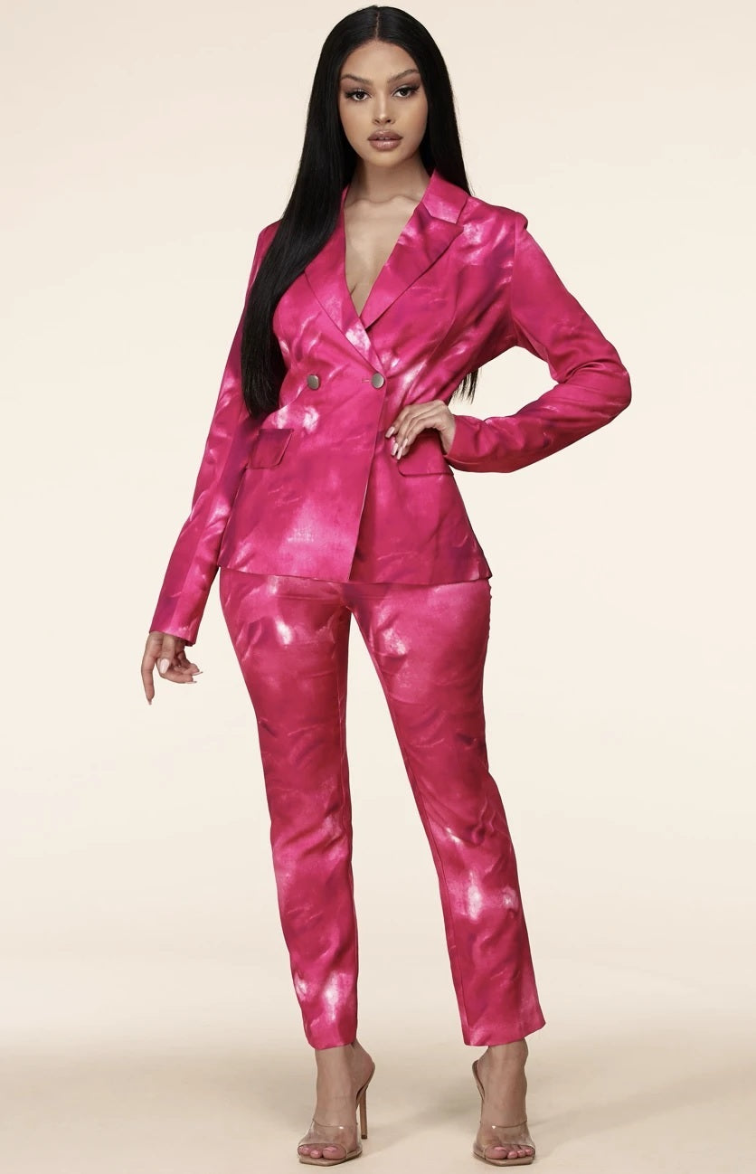 Pink Mix & Match Two Piece Tailored Pant Suit - STEVEN WICK