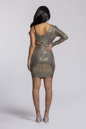 Light Gold Asymmetric Disco Ball Dress - STEVEN WICK