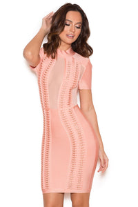 Monalisa Mesh Pink Panel Bandage Dress - stevenwick