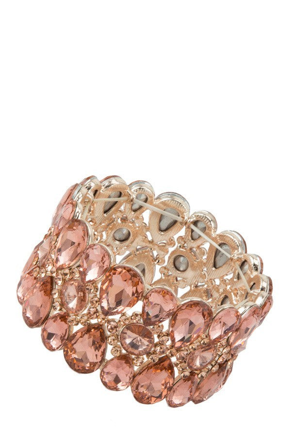 Women's Multiple Crystal Linked Stretch Bracelet - STEVEN WICK