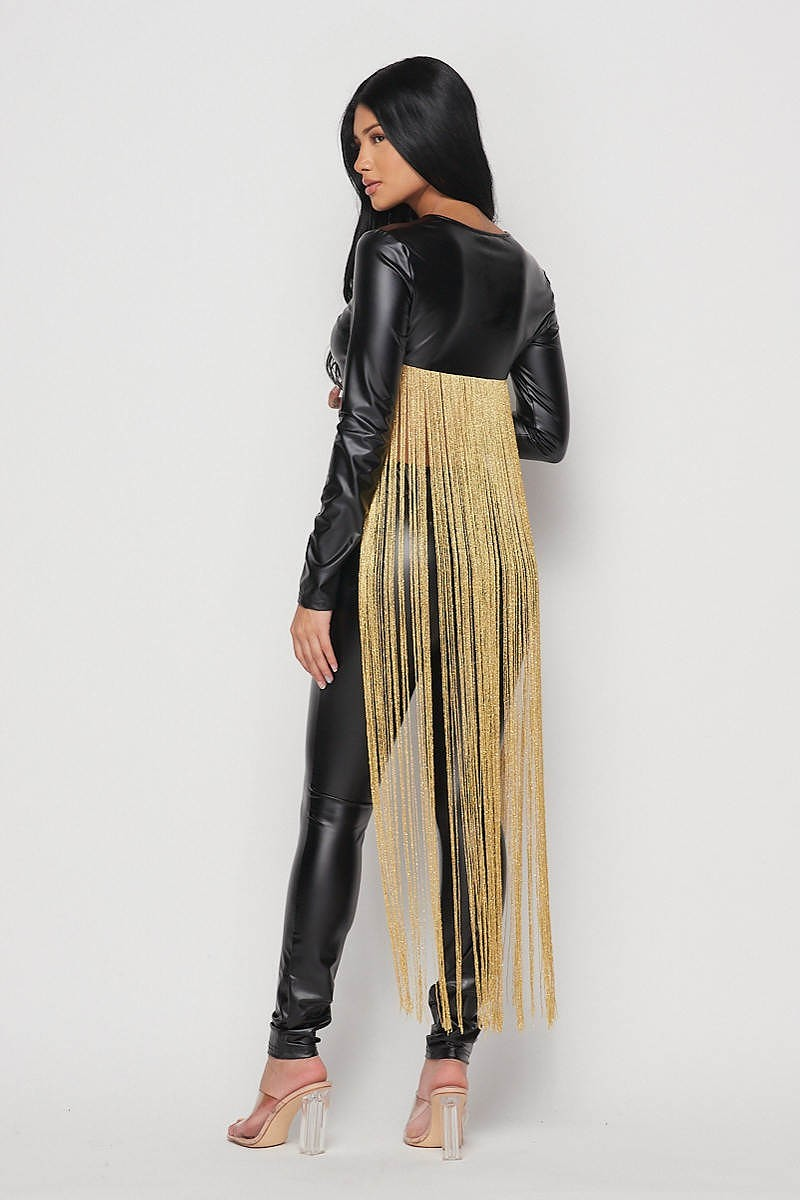 Minaj Black Faux Leather Top With Long Fold Tassels - STEVEN WICK