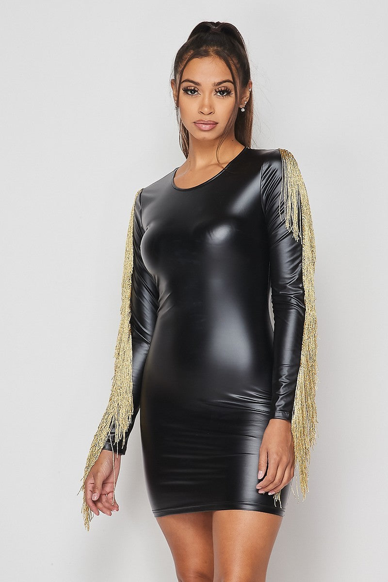 Taylor Black Mini Faux Leather Dress With Gold Tassels - STEVEN WICK