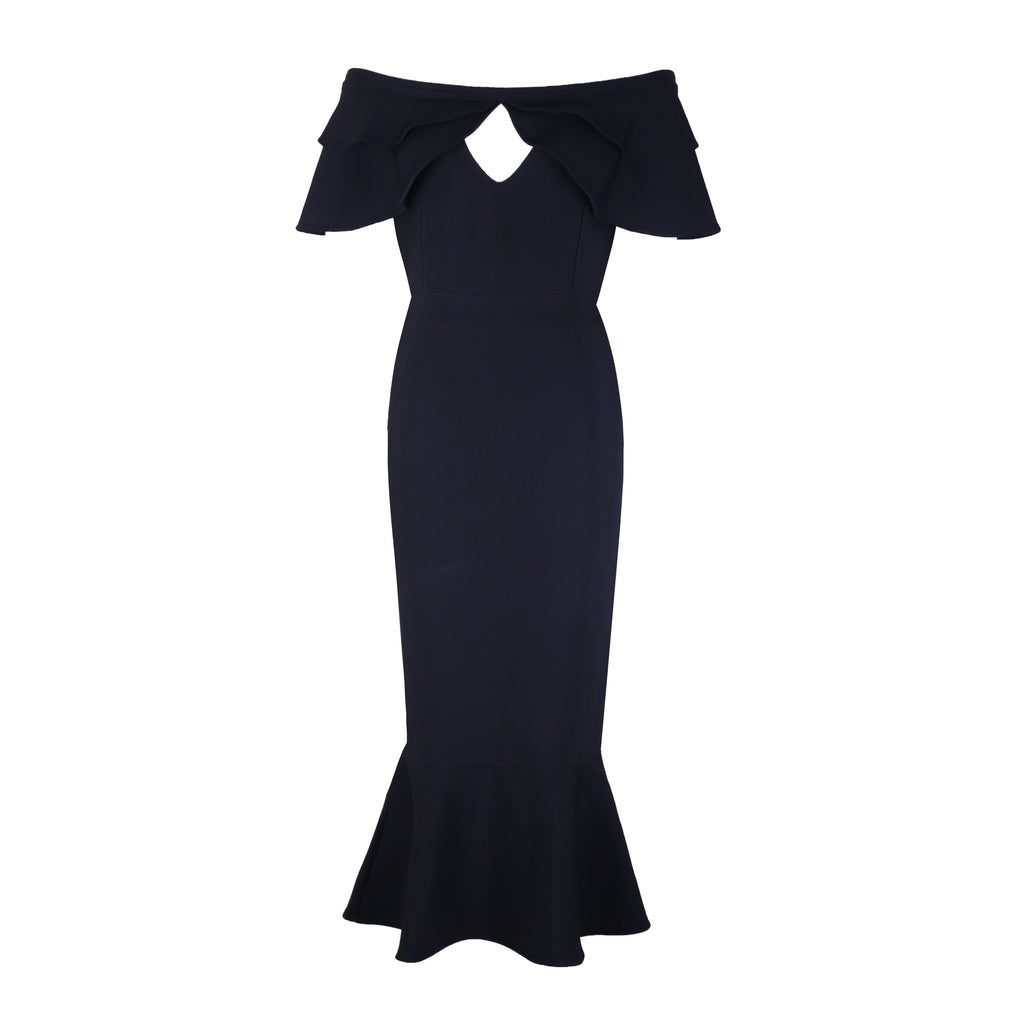 Black Off Shoulder Bandage Dress With Fishtail - STEVEN WICK