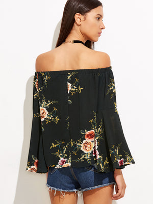 Black Floral Print Off Shoulder Top - STEVEN WICK