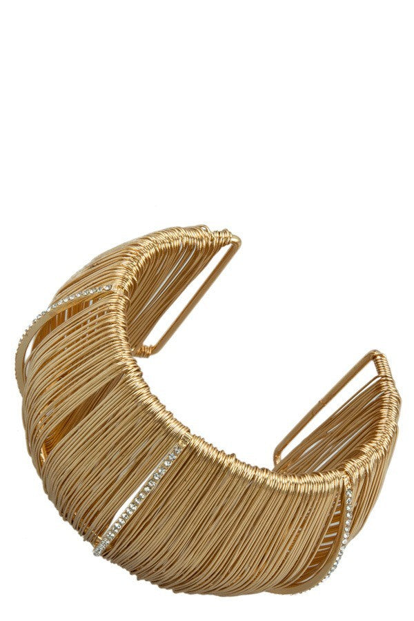 Women's Open Cuff Gold Plated Wire Bracelet - STEVEN WICK