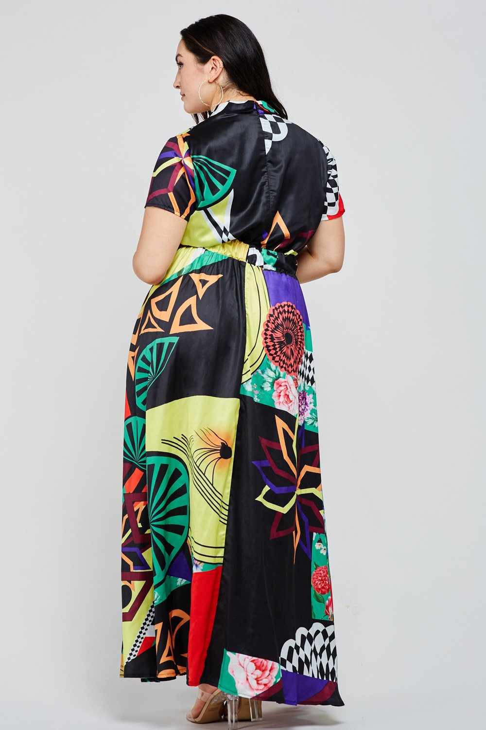 Multi - Color Abstract Print Boho Black Maxi Dress - STEVEN WICK
