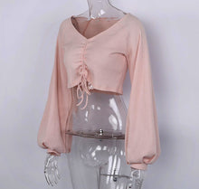 Load image into Gallery viewer, Pink Long Sleeve Crop Top - steven wick