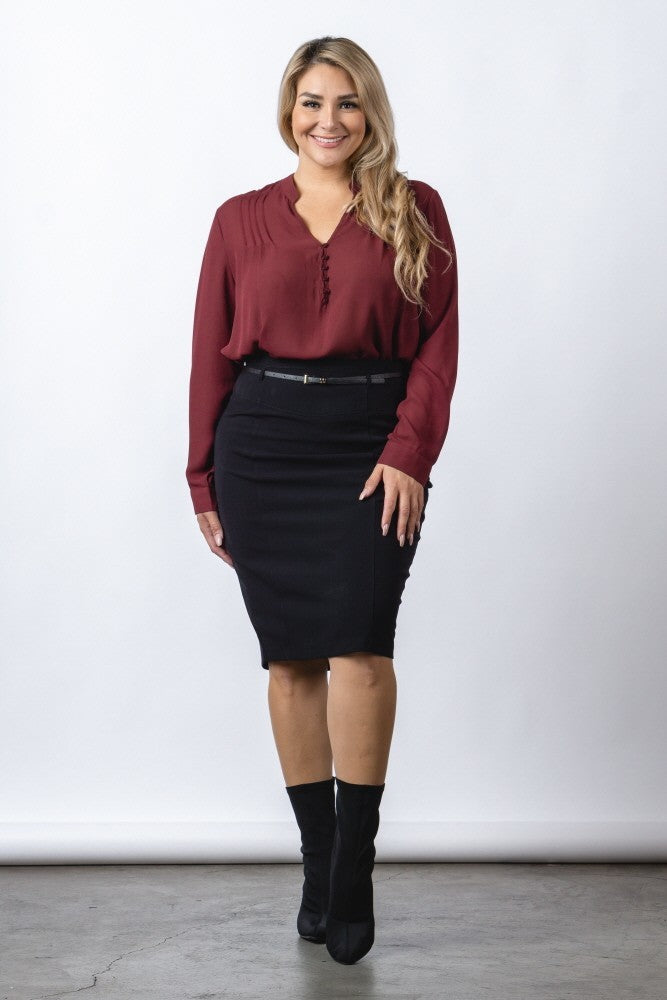 Black Knee Length Pencil Skirt - steven wick