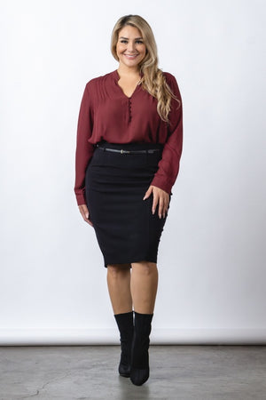 Women's Black Knee Length Pencil Skirt - STEVEN WICK