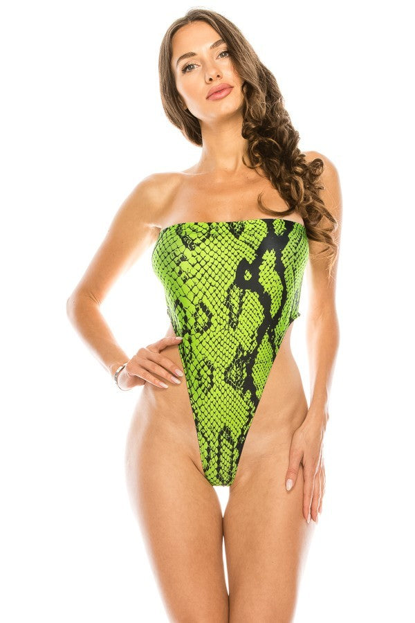 Neon Animal Print One Piece Swim Suit - STEVEN WICK