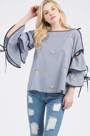 Navy Blue Floral Poplin Print Woven Top With Bell Sleeves - STEVEN WICK