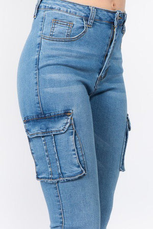 Dark Blue High Waist Skinny Jeans With Cargo Pockets - STEVEN WICK