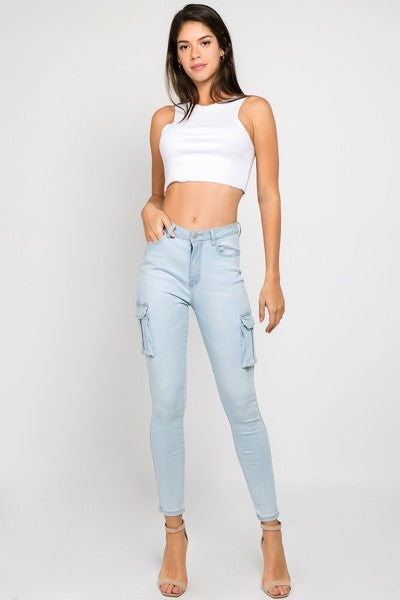 Ladies Light Blue High Waist Skinny Jeans With Cargo Pockets - STEVEN WICK
