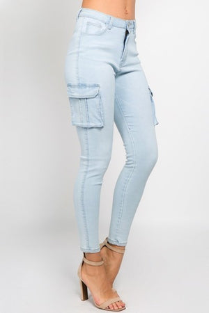 Light Blue High Waist Skinny Jeans With Cargo Pockets - STEVEN WICK