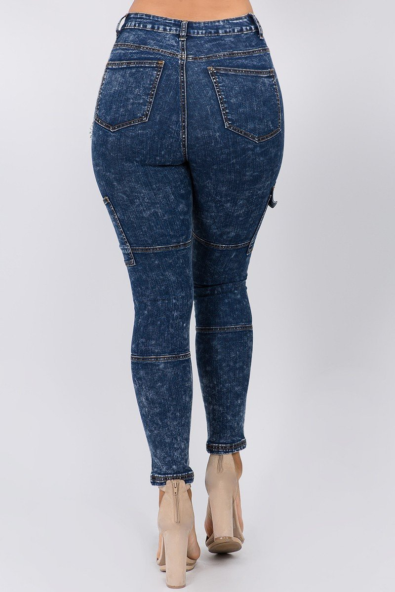 High Waist Dark Washed Skinny Jeans With Cargo Pockets - STEVEN WICK