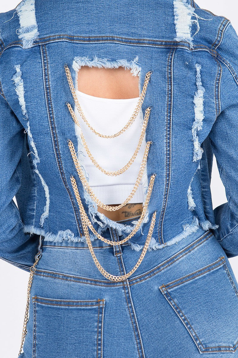 Anya Distressed Dark Blue Cropped Denim Jacket With Chains - STEVEN WICK