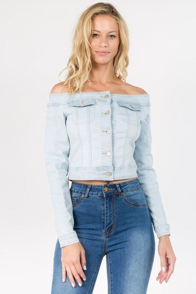 Light Blue Off Shoulder Cropped Denim Jacket - STEVEN WICK