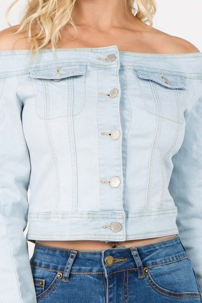 Light Blue Off Shoulder Cropped Denim Jacket - stevenwick