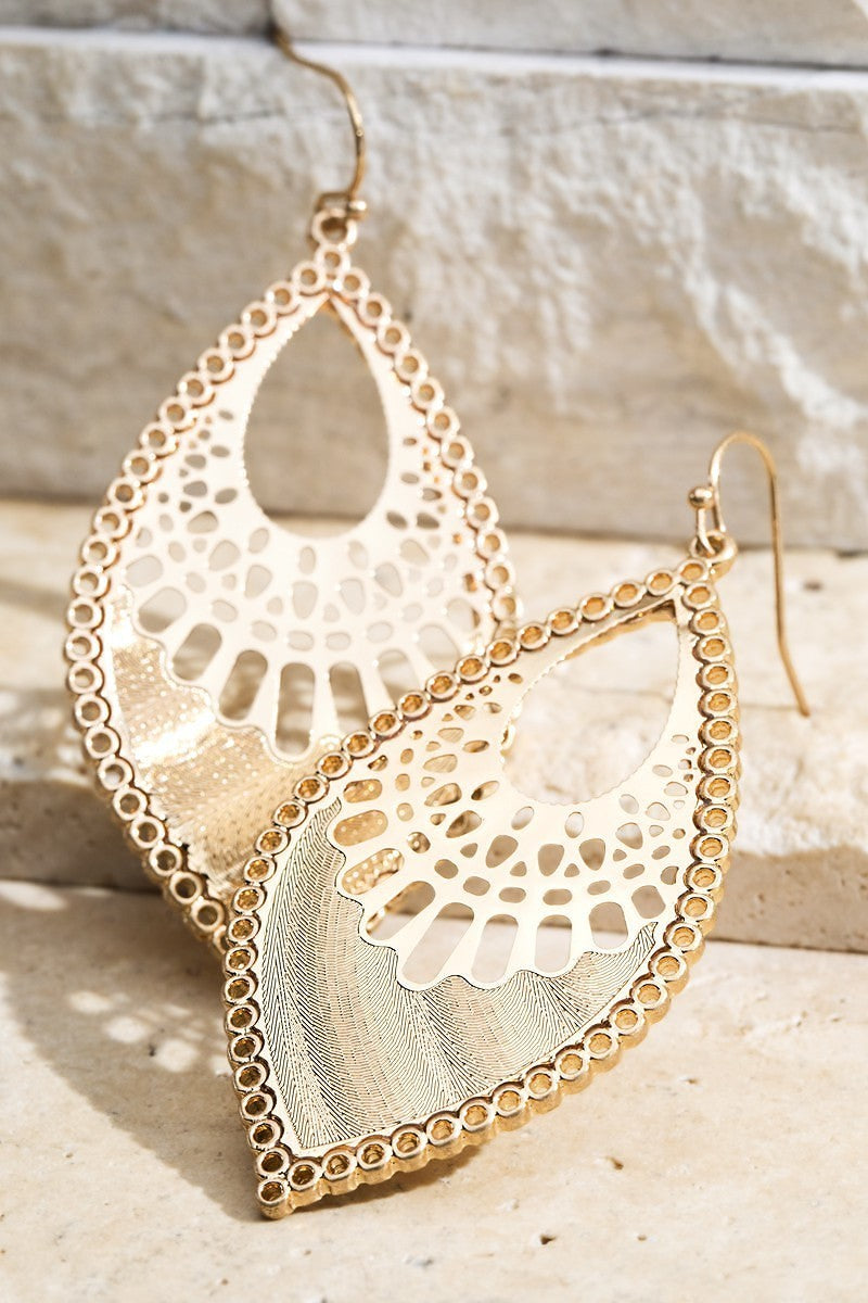 Gold/Silver Marquise Filigree Metal Bead Dangle Earrings - STEVEN WICK