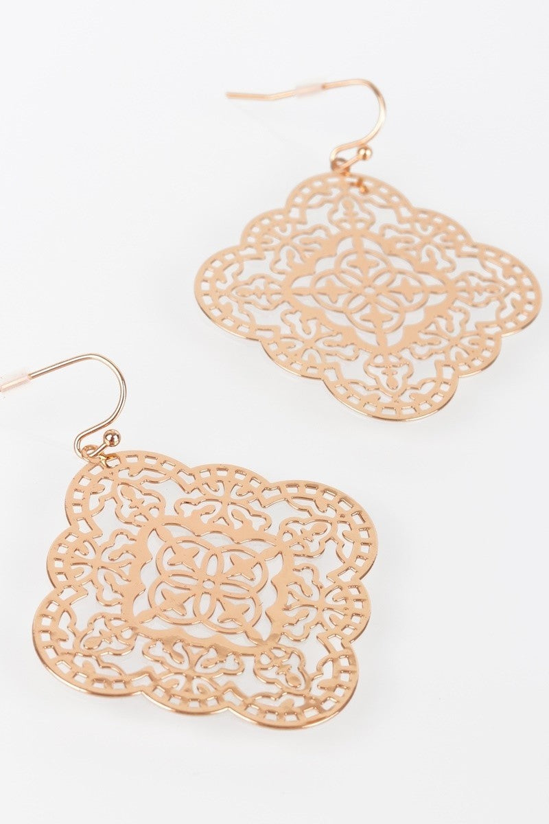 Boho Laser Cut Filigree Hook Earrings - STEVEN WICK