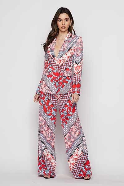 Two Piece Scarf Print Suit - STEVEN WICK