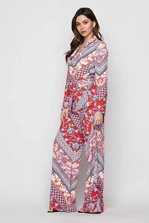 Two Piece Scarf Print Suit Set - STEVEN WICK