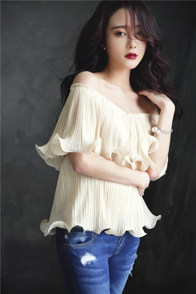 Off Shoulder Wavy Ruffle Chiffon Top - STEVEN WICK