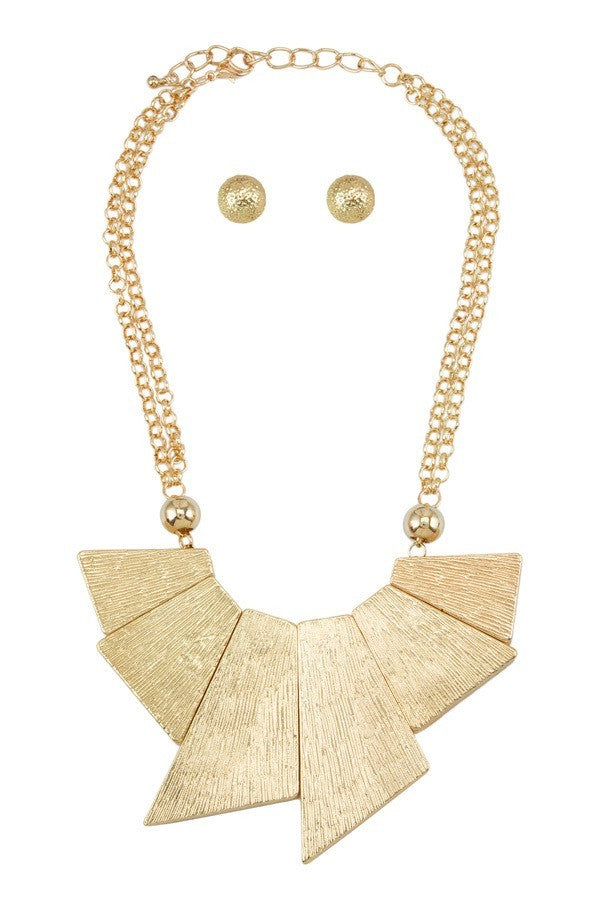 Gold Textured Metal Statement Necklace Set - steven wick