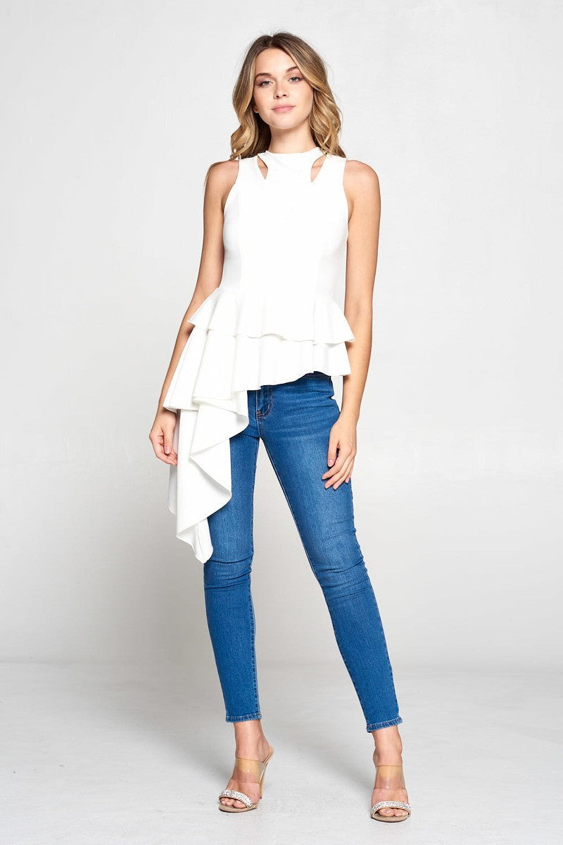 Viola Asymmetric One-Sided Drape Sleeveless Top - STEVEN WICK