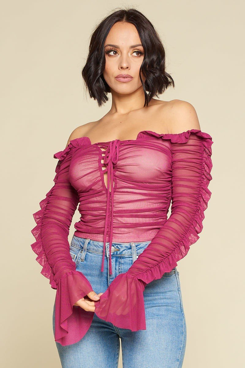 Nicky Minaj Magenta Ruched Lace-Up Off Shoulder Crop Top - STEVEN WICK