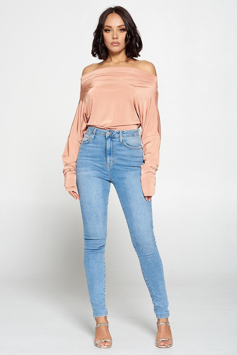 Jenna Multiway Self-Tie Peach One Shoulder Bodysuit - STEVEN WICK