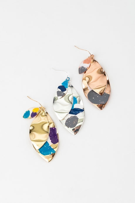 Paint Splash Layered Hook Earrings - stevenwick