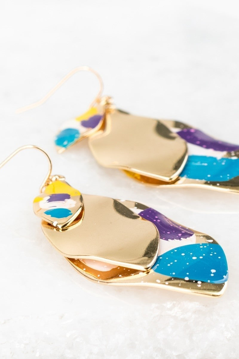Paint Splash Layered Hook Earrings - STEVEN WICK