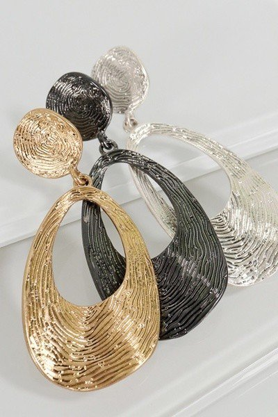 Curved Tear Drop Dangle Earrings - STEVEN WICK
