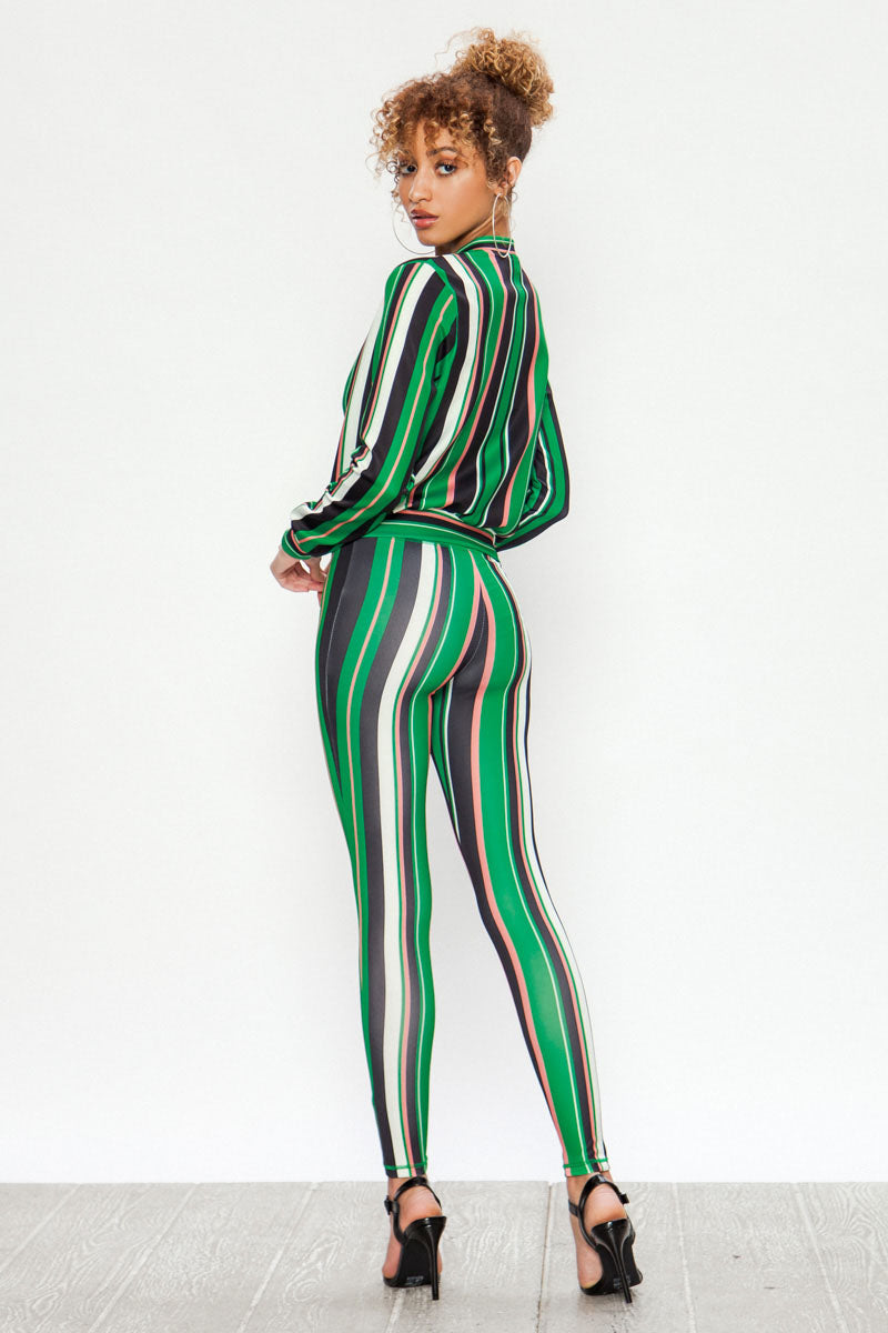 Vertical Stripe Mix Print Tracksuit Set - STEVEN WICK