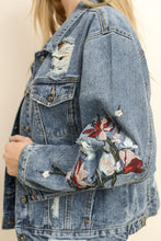 Load image into Gallery viewer, Blue Embroidered Crop Distressed Denim Jacket - steven wick