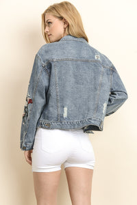 Blue Embroidered Crop Distressed Denim Jacket - steven wick