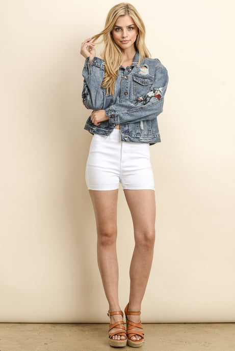 Blue Embroidered Crop Distressed Denim Jacket - stevenwick