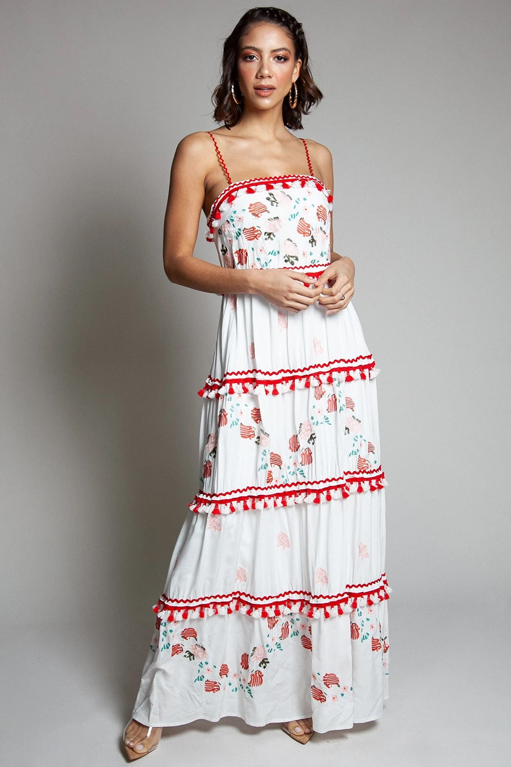 Floral Embroidered Sleeveless Floral Print Maxi Dress - STEVEN WICK